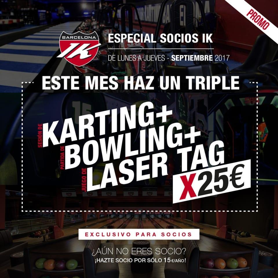 ESPECIAL SOCIOS IK:   KARTING + BOWLING + LASER por 25€